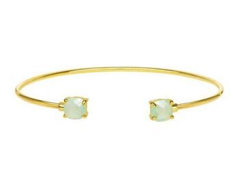 chalcedony gold plated silver bangle,  open bracelet, dainty bracelet, simple, minimal bracelet, natural stone bangle