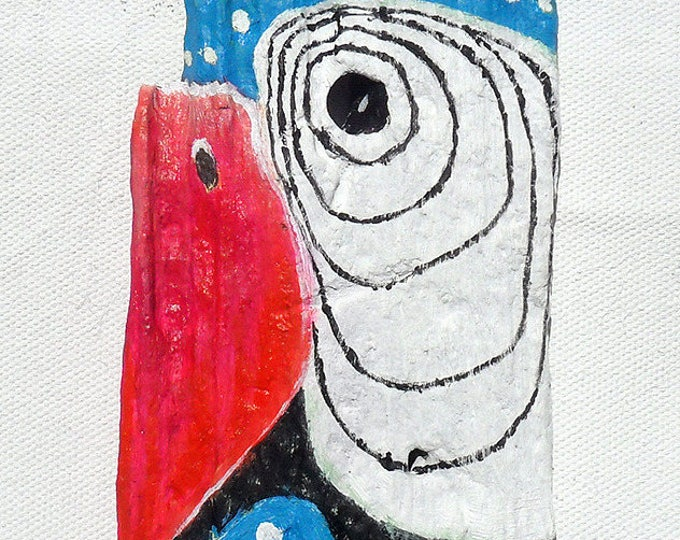 Parrot - painting in oil on Driftwood