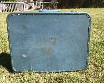 Blue Monarch Suitcase/Vintage Suitcase/Vintage Shelf/Cool Shelf idea/Vintage Blue Suitcase