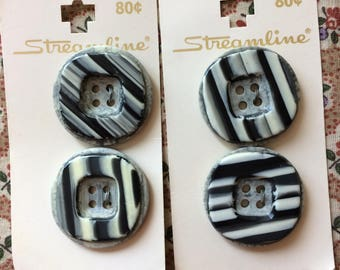 """Set of 4 Vintage New Black and White Striped Round Buttons 1-1/8"""" wide On Card Plastic by Streamline"""