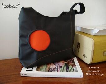 Handbag, Bauhaus, black and orange.
