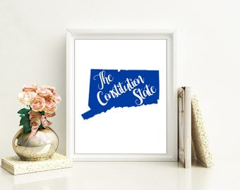 Connecticut state nickname - The Constitution State - INSTANT DIGITAL DOWNLOAD Wall art, 4 colors