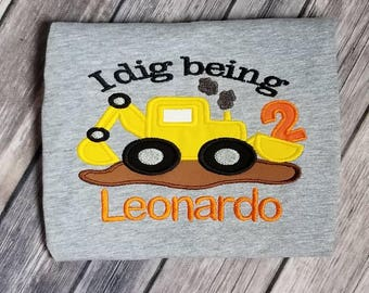 Construction birthday shirt. Pick your colors. Can do for boy or girl and any age.