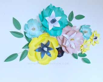 Wedding backdrop paper flowers yellow wall decor paper flower wall yellow nursery decor first birthday party teal flower backdrop flowers