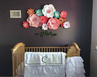 Pink nursery paper flower wall wedding decor giant teal flower girl first birthday party decor large flower backdrop photo booth wedding