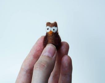 Teeny Tiny Miniature Needle Felted Owl