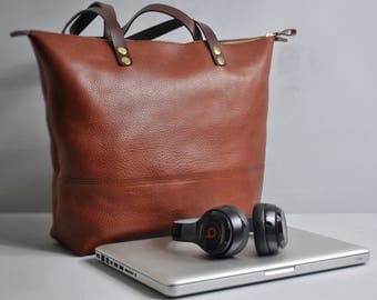 Leather Tote Bag with Zipper, Italian Leather Laptop Bag, Leather Work Bag, Leather Bag, Leather Shoulder Bag, Leather Diaper Bag, Tote Bag