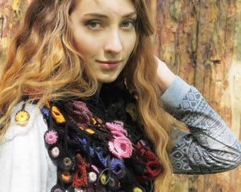 """Сrochet shawl - Gypsy shawl - handmade colorful shawl - boho lace shawl - crochet shawls - wool shawl - hand crochet shawl """"Spring drops"""""""