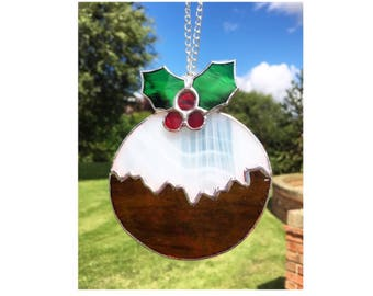 Stained Glass Christmas Pudding Decoration, Christmas Tree Decoration