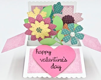 Pop Up Valentine's Day Card, Card in a Box, Explosion Card, Valentine's Day Flowers, 3D Card, Unique Gift, Romantic, Handmade Greeting Card
