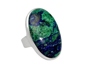 On Sale Azurite malachite ring, sterling silver, blue green, azurite ring, azurite jewelry, gemstone ring, natural stone, stone ring, statem