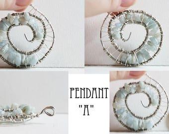 Aquamarine Spiral Pendant
