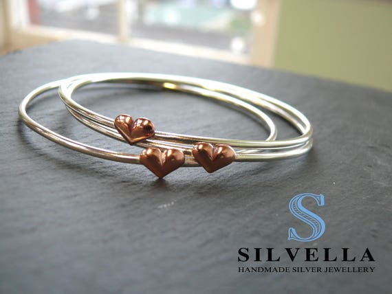 Sterling Silver Bangle and Copper Puff Heart Stacking Bangle