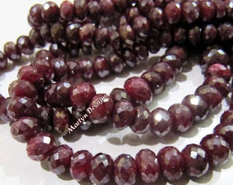 Best Quality Natural Ruby Rondelle Faceted Beads , Mystic AB Coated Far Size Beads 6 to 8 mm , Strand 8 inch long , Precious Gemstone Beads.