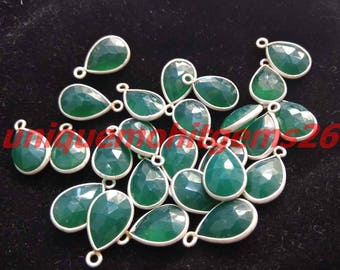 10 pcs.Pear Natural Green onyx  Bezel Silver Plated Briolette Single Loop 8x12mm