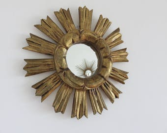 Vintage small French Sunburst mirror gilded art deco mid century 1960's 1970 '60s 70's old french vintage golden wood mirror sun