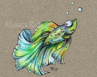 Quirky Beasties Original Siamese Fighting Fish Betta Drawing - Colored Pencil Weird Animals