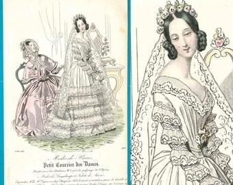 Antique Victorian bride wedding fashion print 1842 gown dress veil lace