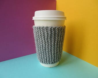 Grey Coffee Cup Sleeve | Hand Knit Cup Cosy | Fits Starbucks Cup | Gifts For Her | Stocking Fillers | Tea Cosy | Knit Coffee Cosy