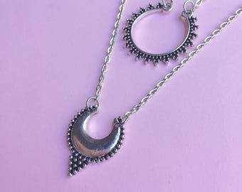 Crescent multilayer tribal necklace