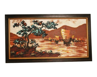Vintage MODERNIST OIL PAINTING asian maroon red wall art mid century modern 50s 60s nautical japan boat ship maritime framed