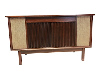 Vintage Danish Modern RECORD CONSOLE credenza radio mid century 60s ~ Motorola ~ stereo sideboard living room furniture hallway turntable