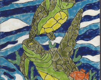 Sea Turtles #301 Hand Painted Kiln Fired Decorative Ceramic Wall Art Tile 8 x 12