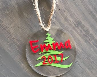 """Personalized Christmas Ornaments 3"""" Round Acrylic Christmas Ornaments Christmas Ornament Monogrammed Christmas Ornament"""