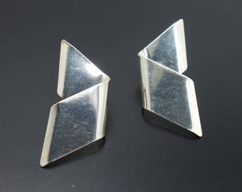 Modern Silver Earrings Vintage Mid Century Modern Lightening Pierced Ear