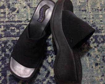 90's sketchers black platform wedge slides size 8