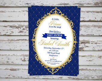 Prince Baby Shower Invitation, Prince Baby Shower Invite, Prince Baby Shower, Royal Blue Baby Shower Invitation, Prince Baby DIGITAL FILE