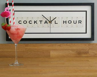 Cocktail Hour Frame Clock by VINTAGE PLAYING CARDS