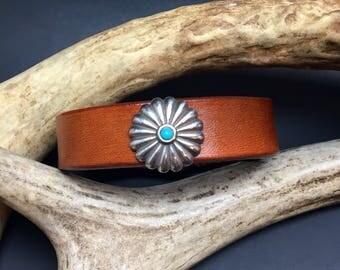 Leather Bracelet, Concho Leather Bracelet, Brown Leather Bracelet