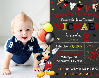 Mickey Mouse Invitation, Mickey Mouse Birthday, Mickey Mouse Party