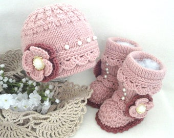 Crochet Baby Girl Pink Set Crochet Baby Shoes Baby Hat Crochet Baby Beanie Baby Girl Winter Set Knitted Baby Set Baby Booties Baby Shoes