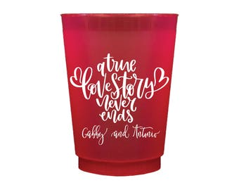 A True Love Story Personalized Wedding Shatterproof Wine Cups, Frosted Cup, Wedding Cups, Wine Cup, Bar Cups, Shower Cups