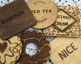 Set of 6 Classic Biscuit Coasters Wooden Bourbon, Custard Cream, Rich Tea, Nice, Jammie Dodger, Iced Party Ring