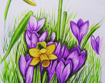 A4 mounted, backed and signed 'Spring' print