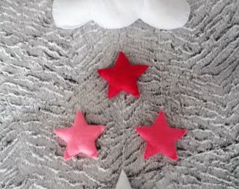 hanging wall cloud and pink stars felt