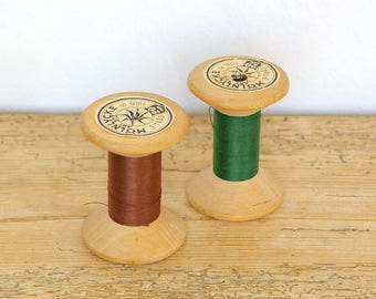 Vintage wooden spools pair with thread Swedish.Thread spool molnlycke Mölnlycke.Industrial spool.Sewing thread supply decor.Gift for sewer.