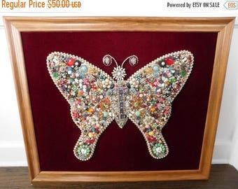 20% OFF SALE - Vintage Framed Jewelry Butterfly Art, Jeweled Art, Rhinestones, Brooch, Jewelry Pin, Jewels