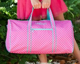 Dottie Collection, Pink Dottie Duffel Bag, FREE Personalization, Personalized Duffel Bag, Monogrammed Duffel Bag, Embroidered Duffel Bag