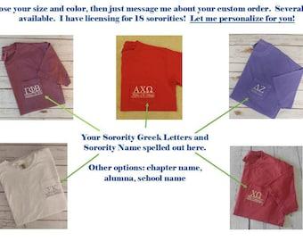 Custom Sorority TShirt, Bid Day, Custom Greek TShirt, Monogramm