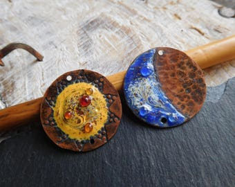 "Enameled copper charms, enamel on copper charms, ""Fortune"", Sun and moon, asymmetrical, yellow and blue, handmade."