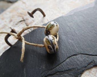 Tribal Lampwork handmade lampwork beads, Lampwork, ivory and khaki, handmade beads.