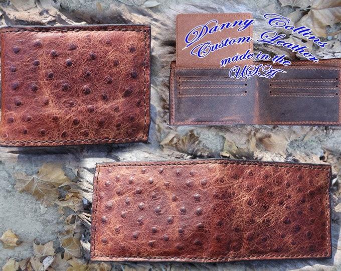 Embossed Ostrich Bi fold Wallet, Ostrich Wallet, Mens wallet