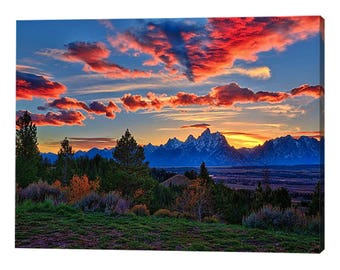 Grand Teton Sunset Stretched Canvas Print - Modern Wall Art Featuring Fine Art Nature Photography from Grand Teton National Park
