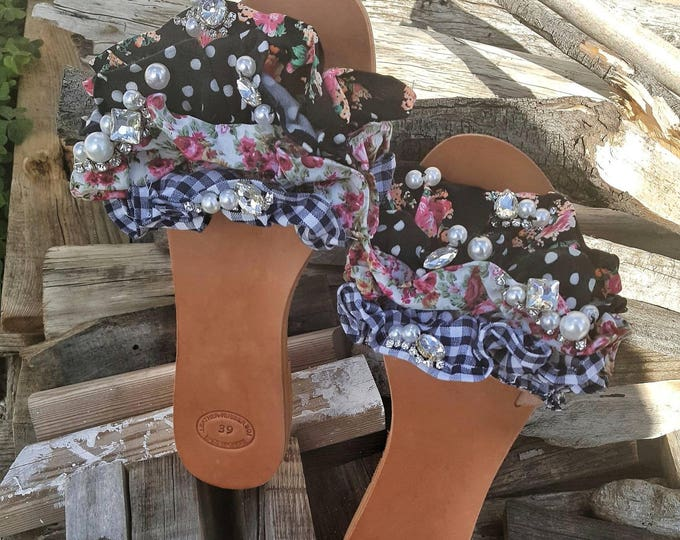 Slidesandals/retro/vintage/Greek sandals/crystal/pearls/ruffled/leather sandals/flat/women's sandals/colorful sandals/handmade sandals/new