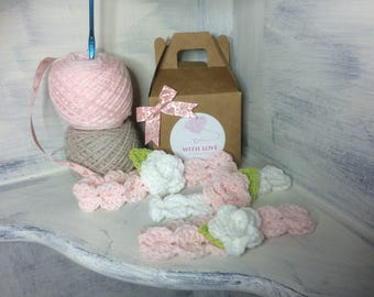 0-3months pink BABY Headband with white flower. Crochet Headband. Flower headband