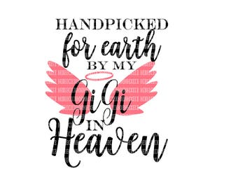 Hand Picked for Earth By GiGi in Heaven SVG Heat Transfer Silhouette Studio Designer Edition Cricut Expression Design Space Printable